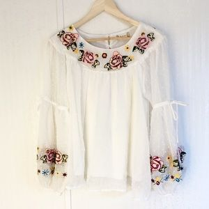 Altar'd State Floral Embroidered Blouse